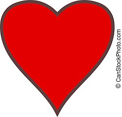 simple heart - Simple graphic of a red heart shape with dark...