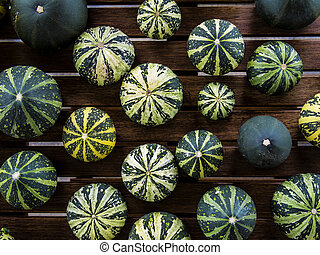 Cucurbita pepo still life green pumkins top view - Still...