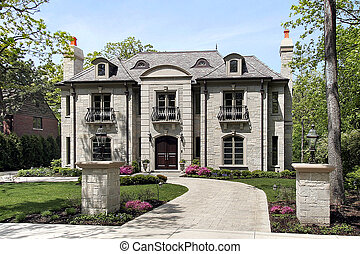 Large luxury home - Luxury stone home with circular driveway...