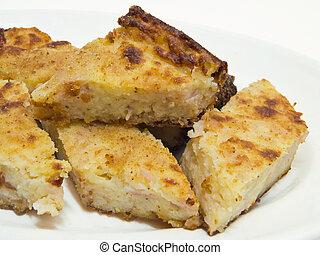 Potatoes gateau. - This is a potatoes gateau sliced on a...
