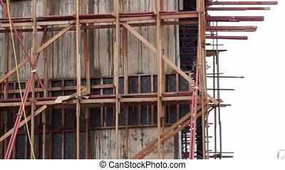 Pour concrete mix from crane pump - Pouring concrete mix...