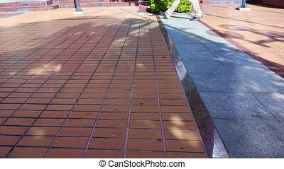landscaping material floor Urban - people leg walking across...