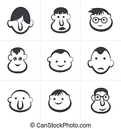 Laughing children's faces. Set. Vector illustration.