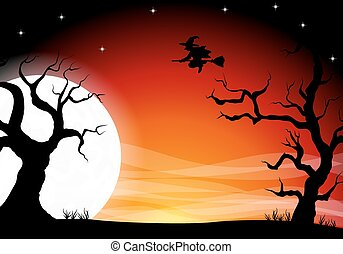 halloween background with a full moon night