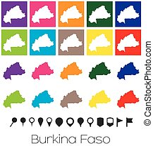 Multiple Colours with Pointers of the map of Burkina Faso -...
