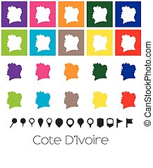 Multiple Colours with Pointers of the map of Cote Divoire -...