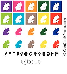 Multiple Colours with Pointers of the map of Djibouti -...