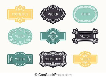 Cosmetics and beauty products - Vector set of linear design...