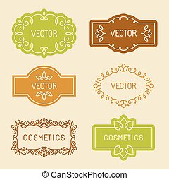Vector set of linear design elements, packaging labels and...
