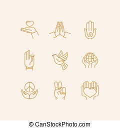 set of icons in trendy linear style related to religion and...
