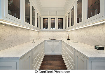 Butlers pantry in luxury home - Butlers pantry with white...