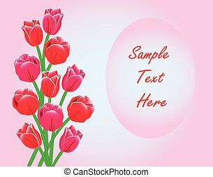 Red Tulips Frame Card With Text
