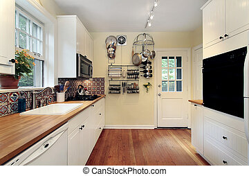 Kitchen with cherry wood floors