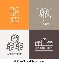 vector, Conjunto, de, logotipo, diseño, plantillas,