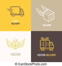Vector express delivery service logo design elements in...