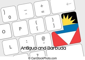 Keyboard with the Enter button being the Flag of Antigua and...
