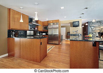 Kitchen with black backsplash