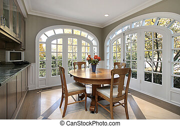 Eating area with circular windows - Eating area in luxury...