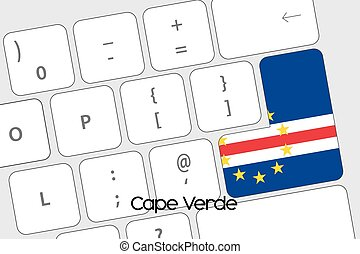 Keyboard with the Enter button being the Flag of Cape Verde