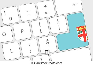 Keyboard with the Enter button being the Flag of Fiji -...