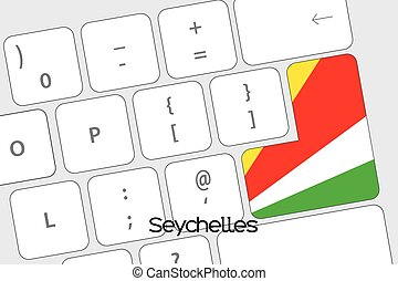Keyboard with the Enter button being the Flag of Seychelles...