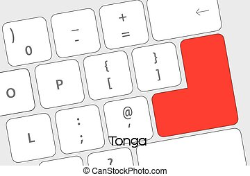 Keyboard with the Enter button being the Flag of Tonga -...