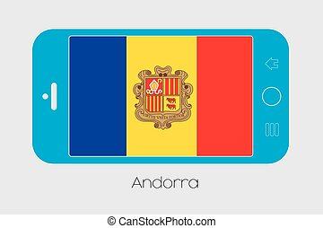 Mobile Phone with the Flag of Andorra - Mobile Phone...