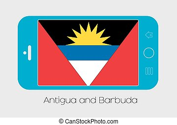 Mobile Phone with the Flag of Antigua and Barbuda - Mobile...