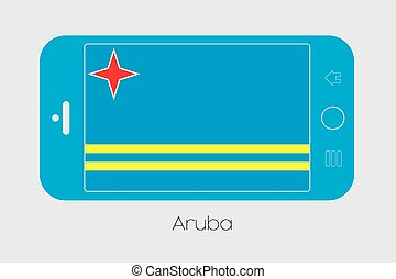 Mobile Phone with the Flag of Aruba - Mobile Phone...