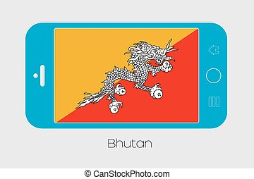 Mobile Phone with the Flag of Bhutan - Mobile Phone...