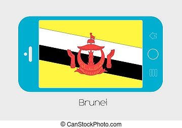 Mobile Phone with the Flag of Brunei - Mobile Phone...