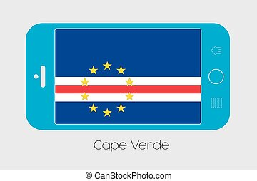 Mobile Phone with the Flag of Cape Verde