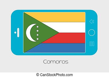 Mobile Phone with the Flag of Comoros - Mobile Phone...