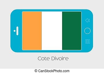 Mobile Phone with the Flag of Cote DIvoire - Mobile Phone...
