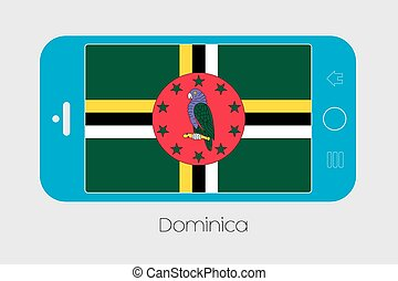 Mobile Phone with the Flag of Dominica - Mobile Phone...