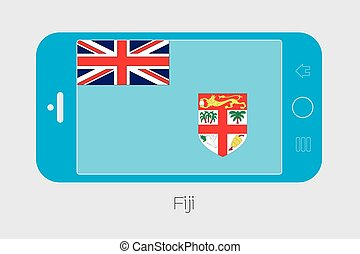 Mobile Phone with the Flag of Fiji - Mobile Phone...