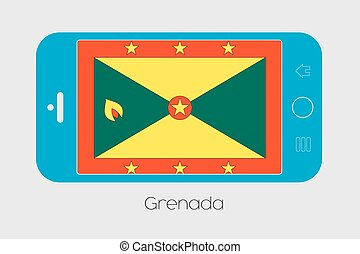 Mobile Phone with the Flag of Grenada - Mobile Phone...