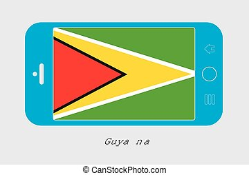 Mobile Phone with the Flag of Guyana - Mobile Phone...