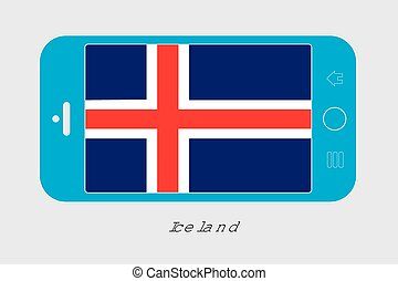Mobile Phone with the Flag of Iceland - Mobile Phone...
