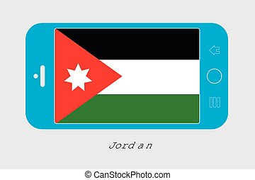 Mobile Phone with the Flag of Jordan - Mobile Phone...