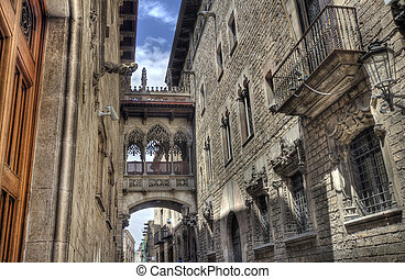 Barri Gotic, Barcelona - Del Bisbe street in the Barri Gotic...