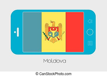 Mobile Phone with the Flag of Moldova - Mobile Phone...