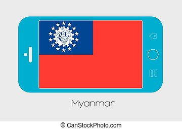 Mobile Phone with the Flag of Myanmar - Mobile Phone...