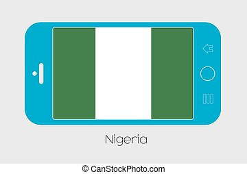 Mobile Phone with the Flag of Nigeria - Mobile Phone...