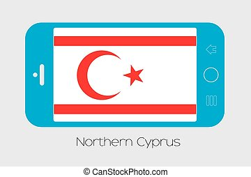 Mobile Phone with the Flag of Northern Cyprus - Mobile Phone...