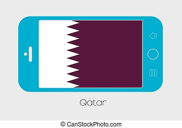 Mobile Phone with the Flag of Qatar - Mobile Phone...