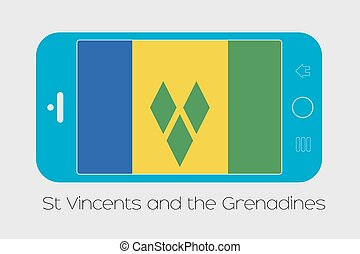 Mobile Phone with the Flag of Saint Vincents and the...