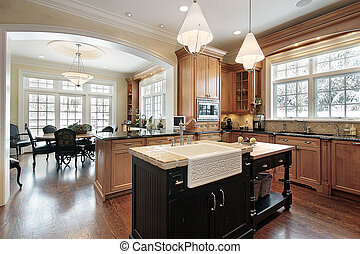 Kitchen in luxury home with granite and black island