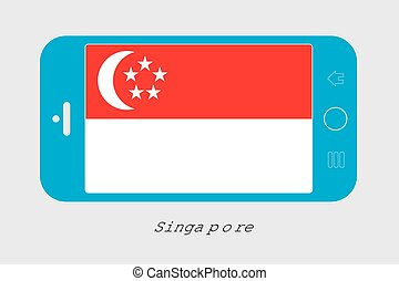Mobile Phone with the Flag of Singapore