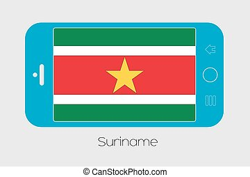 Mobile Phone with the Flag of Suriname - Mobile Phone...